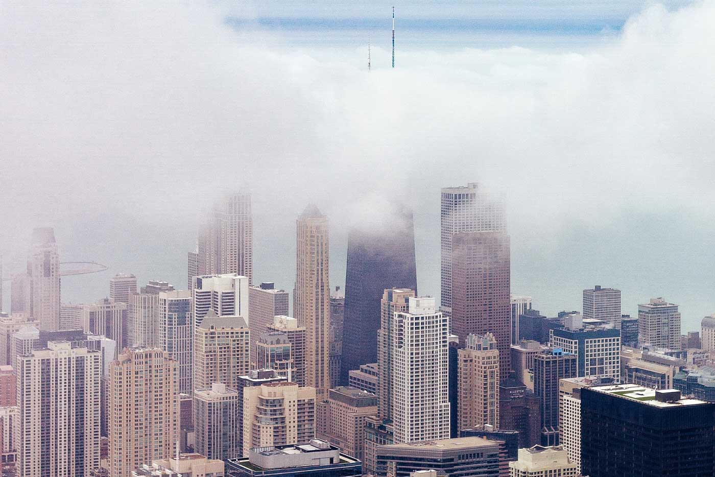 Chicago skyline in the fog.