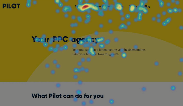 example of a heatmap from pilotdigital.com homepage