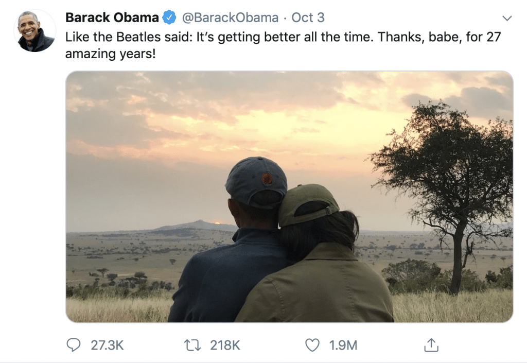 cropped picture of michelle and barack obama for their anniversary on twitter
