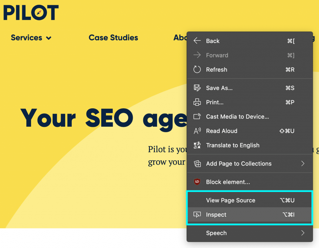 screenshot showing you how to inspect elements to troubleshoot JS