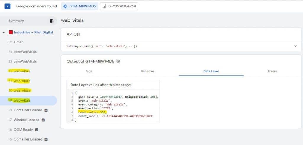 GTM debugger showing web-vitals tags firing