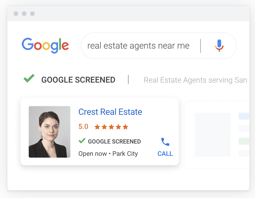 example of google screened local service ads for real estate agents