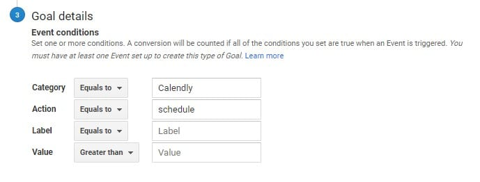 settings to map Calendly event to GA goal